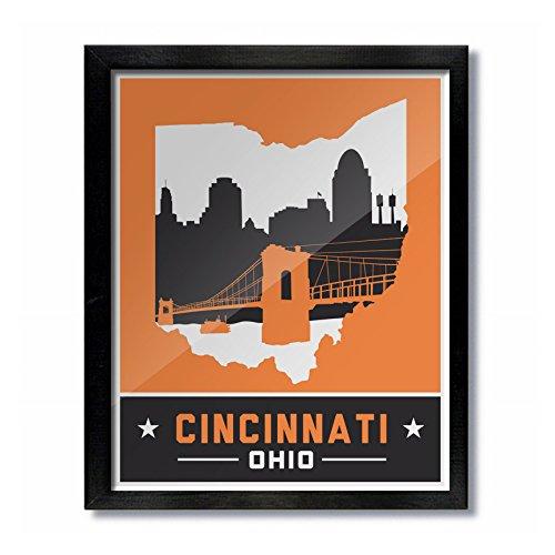 Cincinnati, Ohio Skyline Vintage Poster Print: 16x20 - - Cincinnati Ohio Outlet