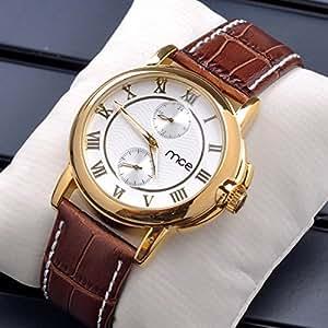 Vintage Chronograph Quartz Ultrathin Leather Casual Clocks Men Analog Wrist Watch (White)