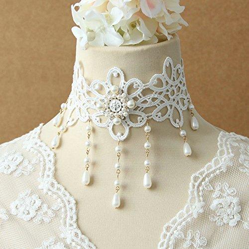 LEECO Elegant Sweet Pure Bride Wedding Accessories Gothic Ribbon Bridal Lace Princess Bridal Wild Wedding White Lace Choker Necklace,Tear-shaped Pendant Pearl Tassel White Necklace