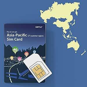 GMYLE Tarjeta SIM prepaga Recargable 4G LTE / 3G con Paquete de Datos de Internet de 12GB por 30 días en Asia Pacífico 17 países y regiones: China, ...