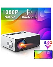 """Full HD Projektor Wifi Bluetooth, Artlii Enjoy3 Native 1080P Mini Projektor, 2.4G / 5.0G WiFi, Dolby Stereo, Max 300 """"skärm, Hemmabiovideoprojektor Kompatibel med iOS, Android, TV Stick, PS4, X-Box, Bärbar dator, Smartphone"""