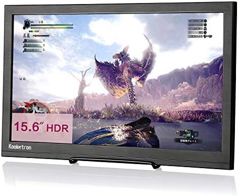 Koolertron Monitor portátil para Juegos de 15.6 Pulgadas, 1920x1080 1080P HDR HDMI Monitor portátil con Altavoz para NS PS4 PS3 Xbox PC Mac Raspberry Pi Ordenador CCTV con DC (15.6