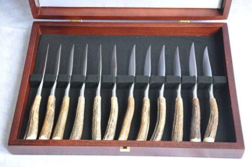 Twelve / 12 / 1 Dozen Genuine Stag/Antler Handle Steak Kn...