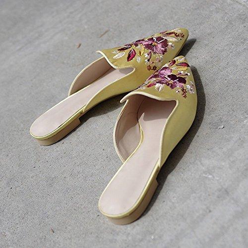 Sandale Chaussures Pantoufle Brodé à Plat 38 Baotou Porter la DHG Tête Fond Mule à Paresseux Mode Jaune pU7xxq