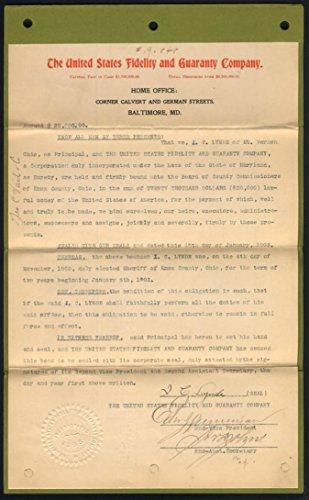 Surety Bond For Sheriff I C Lynde Mt Vernon Oh   U S Fidelity   Guaranty 1903