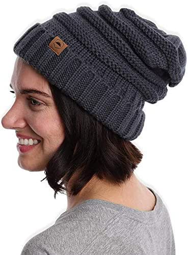 Slouchy Cable Knit Cuff Beanie - Chunky, Oversized Slouch Beanie Winter Hats for Women - Stay Warm & Stylish - Serious Beanies for Serious Style