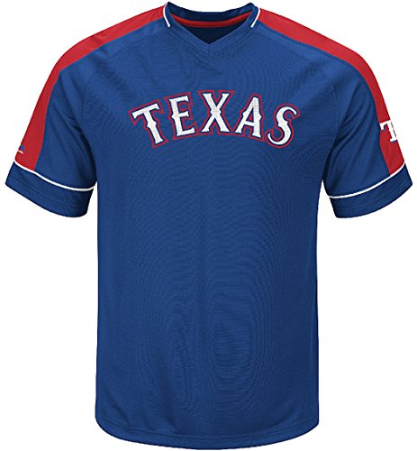 9655c6761 Majestic MLB Texas Rangers Mens Lead Hitter 2 Synthetic V Neck Baseball  Jersey (Small)