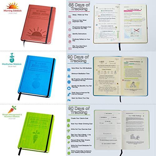 Bundle: 1x Red Morning Sidekick Journal, 1x Green Fat Loss & Nutrition Sidekick Journal, 1x Blue Meditation Sidekick Journal & 1 Gray Weightlifting Gym Buddy Journal by Habit Nest (Image #2)