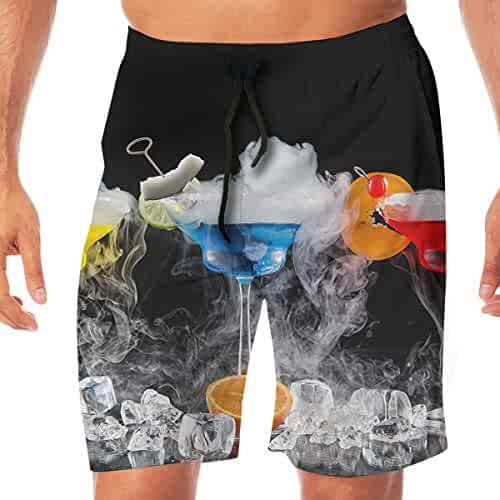 b9170e34f2 Quick Dry Men's Beach Shorts Colorful Cocktail Print Surfing Trunks Surf  Board Pants Pockets