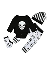 4pcs/Set Kids Infant Baby Boy Outfits Sweatshirt Skull Print Romper+Pants+Hat+Gloves