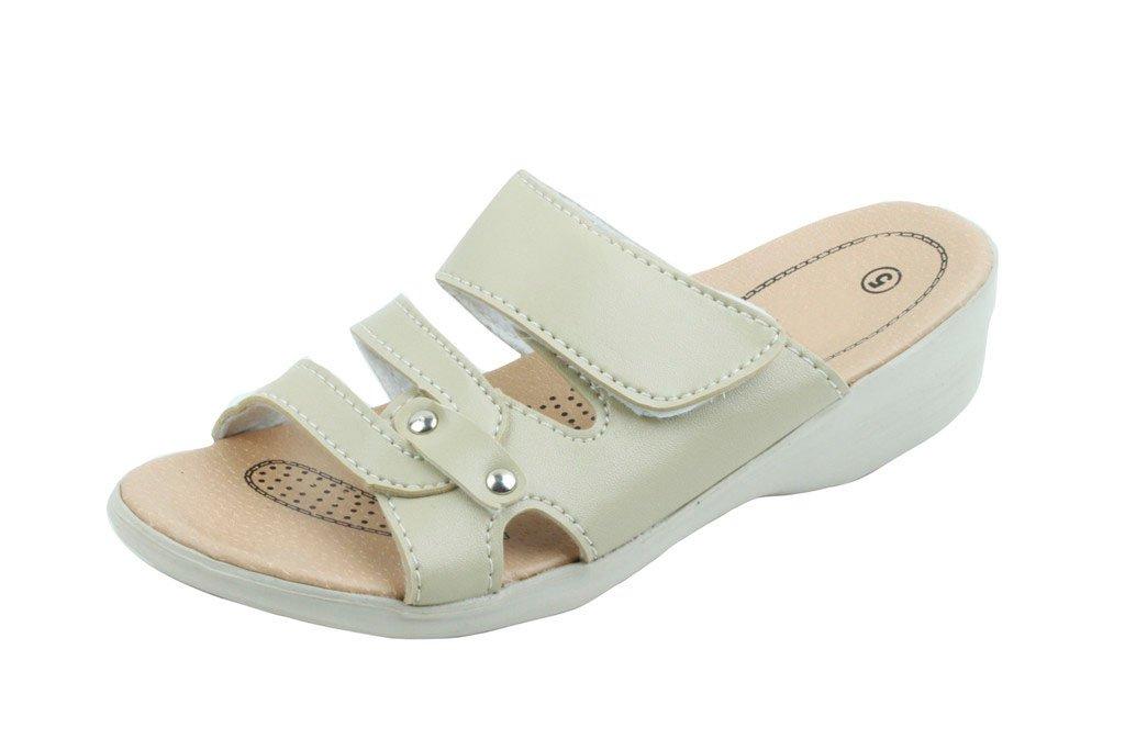 Jeffrey D Women Open Toe Comfort Slide Wedge Shoe Sandals (8, Beige-C)