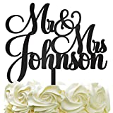 Personalized Wedding Cake Topper - Wedding Cake Decoration Customized Mr & Mrs Last Name To Be Bride & Groom script fontColor Acrylic