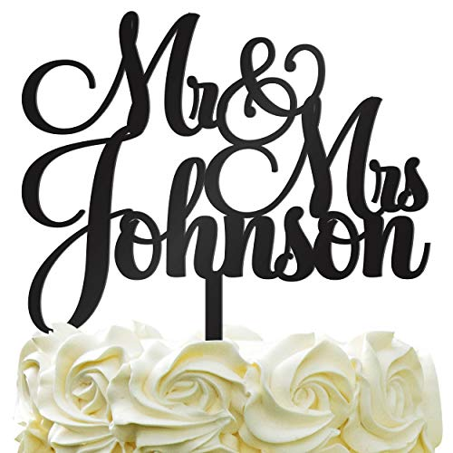 Personalized Wedding Cake Topper - Wedding Cake Decoration Customized Mr & Mrs Last Name To Be Bride & Groom script fontColor Acrylic by PersonalizedGiftLAnd (Image #3)