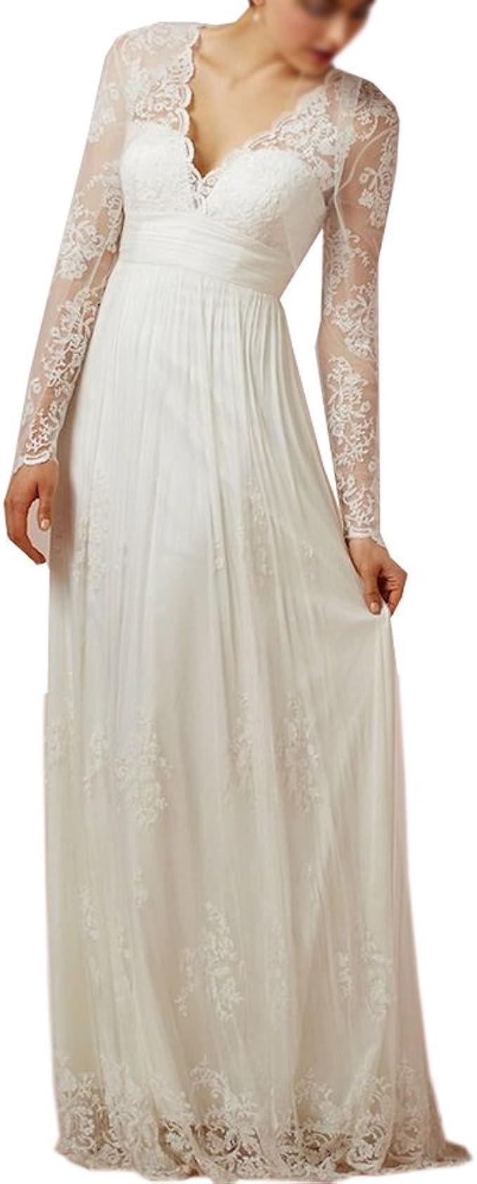 Nanger Damen Spitze Hochzeitskleider Lange Ärmel Standesamt Boho Bohemian  Brautkleider Wedding Dress