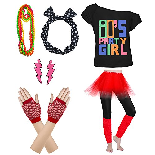 80's Party Womens Retro Costume Accessories Outfit Dress for 1980s Theme Party Supplies (S/M, Red)