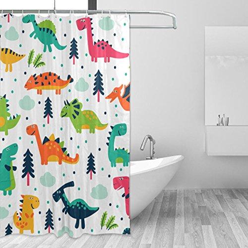 JSTEL Decor Shower Curtain Cute Dinosaurs Cartoon Pattern Print 100% Polyester Fabric Shower Curtain 60 x 72 Inches for Home Bathroom Decorative Shower Bath Curtains