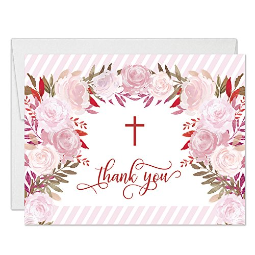 Girl Baptism Thank You Cards with Envelopes (Pack of 25) Pink Flowers Christening Thanks Gracias Blank Notecards Religious Celebration Christian Blessing Baptismal Dedication Excellent Value VT0095B