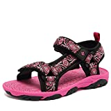 CIOR Fantiny Kids Athletic Sandals Boy and Girls' Two-Straps Open Toe Beach Sports Sandals (Toddler/Little Kid/Big Kid) SAC101 Rose 25