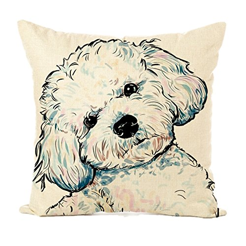 - Easternproject Cute Pet Dog Painting Cotton Linen Throw Pillow Case Cushion Cover Square Animal Pillow Covers Home Decor 18 x 18 Inch (6# Poodle)
