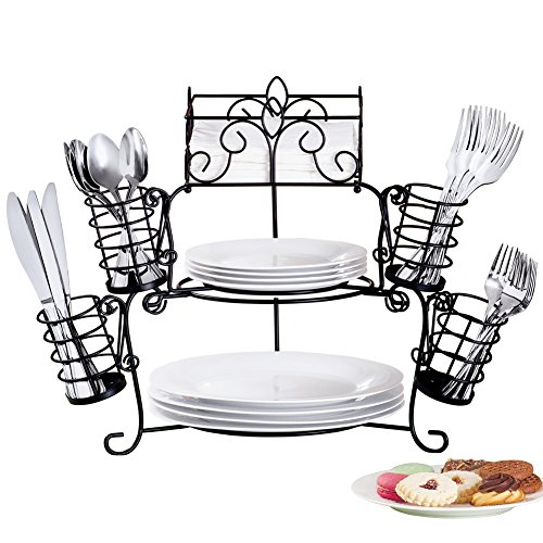 Buffet Organizer with Scroll Design, 7-Piece Set for Plates, Napkins and Cutlery ()