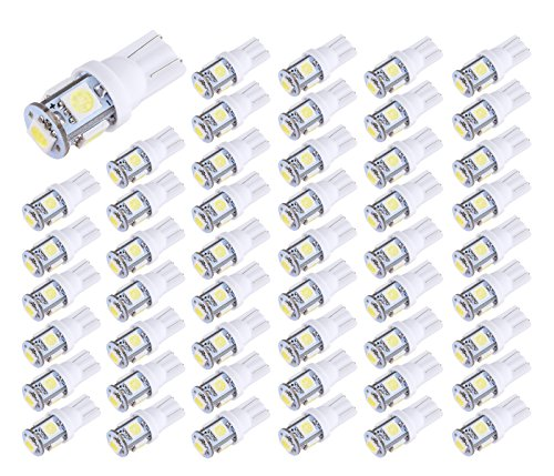 Aucan LED 50-Pack White Replacement 194 T10 168 2825 W5W 175 158 Bulb 5050 5- SMD LED Light, 12V Car Interior Lighting For Map Dome Lamp Courtesy Trunk License Plate Dashboard Lights ()