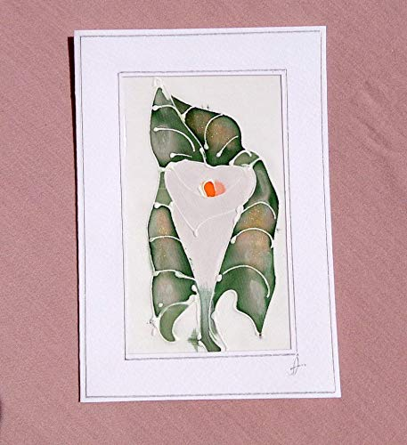 Calla Lily Stationery - Sale!!!15% Off,''CALLA LILY'' Original Painting Silk Blank Note Card, Greeting Flower Card, Botanical Stationery, Calla Lily Mother's Day Card, Calla Lily Painting.
