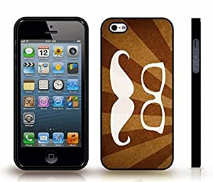 iStar Cases? iPhone 5/5S Case with White Mustache and Glasses on Brown and Tan Rays Background , Snap-on Cover, Hard Carrying Case (Black)