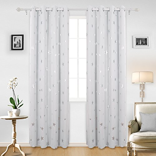 Deconovo Room Darkening Thermal Insulated Blackout Grommet Window Curtains with Silver Star Print for Living Room Greyish White W52 x L95 Inch 1 Pair (And Curtains Silver White)