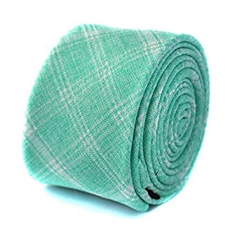 91d51a4d66a4 Frederick Thomas light sea green check cotton tie: Amazon.co.uk ...