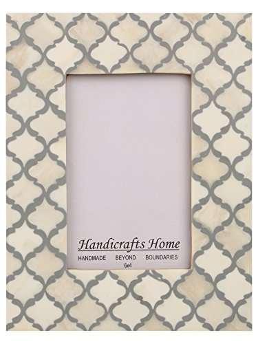 (Handicrafts Home Picture Photo Frame Moorish Damask Moroccan Arts Inspired Handmade Naturals Bone Frames Size 4x6 & 5x7 inches (5X7, White-Grey))