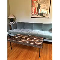 Barnwood coffee table in beautiful mosaic pattern with industrial pipe legs.