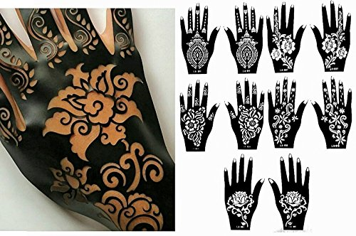 Henna Stencil Tattoo (10 Sheets) Self-Adhesive Beautiful Body Art Designs - Temporary Tattoo Templates from Gilded Girl