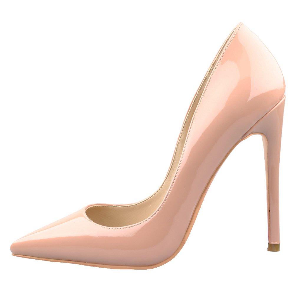 Jushee Damen Sexy Klassische Schwarz Stiletto High Heels Kleid Buuml;ro Pumps39 EU|Nackt