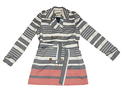 Michael Kors - Double Breasted Stripe Trench Coat - Navy/White/Tangerine - Medium (Michael Michael Kors Double Breasted Jacket Apparel)