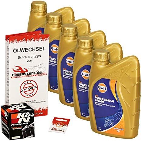 Gulf 10W-40 Öl + K&N Ölfilter für Suzuki VS 1400 Intruder, 87-03, VX51L - Ölwechselset inkl. Motoröl, Filter, Dichtring
