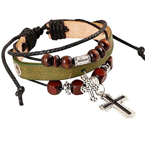 Sandistore Fashion Cross Pendant Multilayer Handmade Leather Wristband Bracelet Bangle (E)