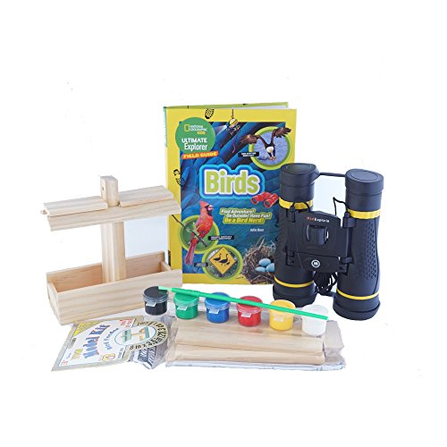 Bird Watching Kids Kit, Book, Binoculars, Bird House Feeder Craft Kit and Birdwatching Book by National Geographic