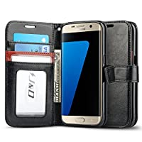 Estuche J&D compatible con funda Galaxy S7 Edge, [Soporte de billetera] [Slim Fit] Estuche protector rígido resistente a los golpes con tapa protectora para Samsung Galaxy S7 Edge Funda billetera - Negro /Marrón