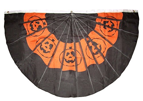 3x5 Happy Halloween Pumpkin Jack o Lantern Bunting Fan Super Polyester Nylon Flag 3'x5' House Banner 90cm x 150cm Grommets Double Stitched Premium Quality Indoor Outdoor Pole Pennant (Brand New)