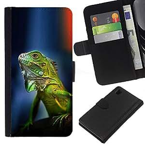 Planetar® Modelo colorido cuero carpeta tirón caso cubierta piel Holster Funda protección Sony Xperia Z1 L39 ( Gecko Chameleon Lizard Tropical Green )