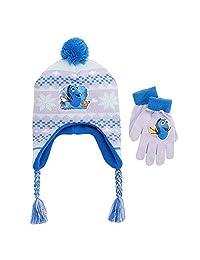 Disney Finding Dory Girls Nemo Fairisle Pom-pom Earflap Hat & Gloves Set