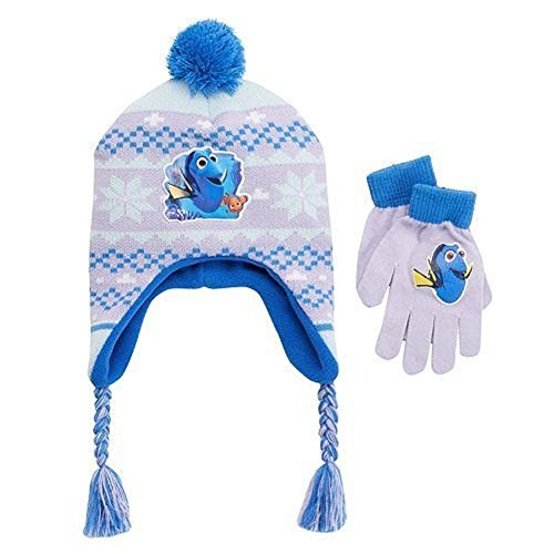 Price comparison product image Disney Finding Dory Girls Nemo Fairisle Pom-pom Earflap Hat & Gloves Set