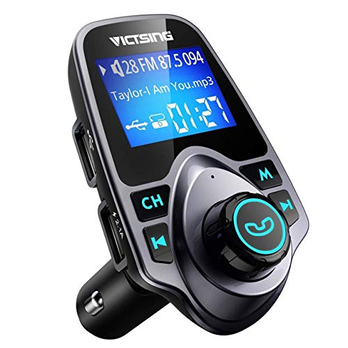 VicTsing FM Transmitter, Bluetooth FM Transmitter Radio Adapter Car Kit with 5V 2.1A USB Car Charger MP3 Player Support…