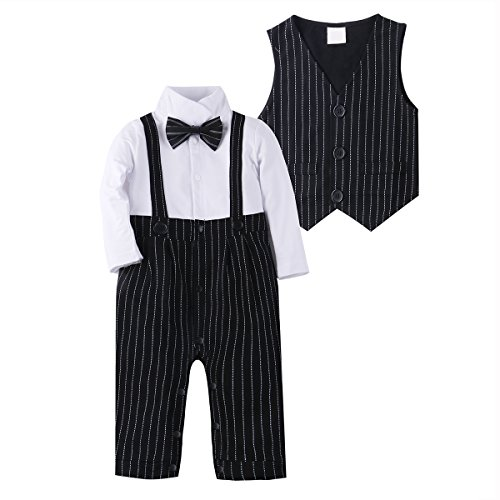 Baby Boy Suit Clothes Adorable Baby Tuxedo Jumpsuit Outfit Romper 2Pcs with Vest (Cheap Fancy Dress Outfits)