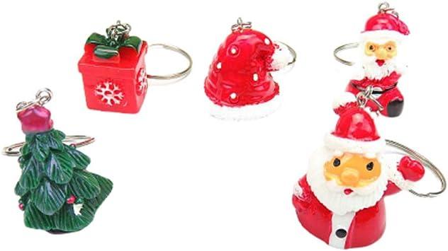 Amosfun - 5 llaveros de Navidad con Sombrero de Papá Noel, Caja de Regalo para árbol de Navidad, Bolso de árbol de Navidad, Regalos, Bolsas de Regalo: Amazon.es: Equipaje