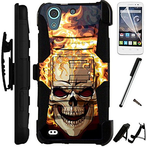 For HTC Desire 650 / Desire 625 (Cricket) / Desire 626 / Desire 626s Armor Hybrid Silicone Phone Cover Kick Stand LuxGuard Holster Combo Pack (Flaming Skull)