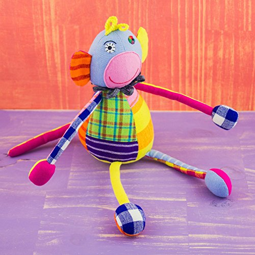 Mr. Ellie Pooh Fabric Patchwork Doll Monkey ~ Hand Made in Sri Lanka by Local Artisans ~ Safe to Chew! - Pooh Patchwork