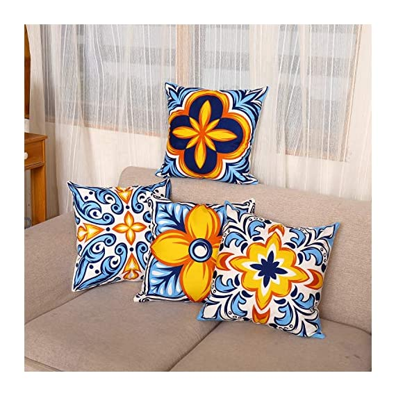 cygnus Farmhouse Throw Pillow Cover 18x18 Floral and Boho Retro Pattern Pillowcase Outdoor Cushion Cover Pillow Case for Sofa Bed Decorative Pack of 4 - ¡¾Size & Material: ¡¿4 pcs of 18x18 Inch Farmhouse pillow covers without inserts. Made of 100% durable and soft polyester fabric, durable and comfortable. children and adults could rest on it. ¡¾Characteristics:¡¿Zipper is hidden and works smoothly.please fold the pillow insert before you put it into the pillowcase, this is very important. ¡¾Designed:¡¿Fruit pattern, Boho Retro pattern,Printed floral or geometric (front), solid color soft fabric (back),suitable outdoor use or farmhouse decor - patio, outdoor-throw-pillows, outdoor-decor - 51XWN66qA3L. SS570  -