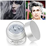 HailiCare Silver Grey Hair Wax 4.23 oz, Professional Hair Pomades, Natural Silver Ash Matte Hairstyle Wax for Party Hairstyles, Cosplay Outfit, New Glass Jar