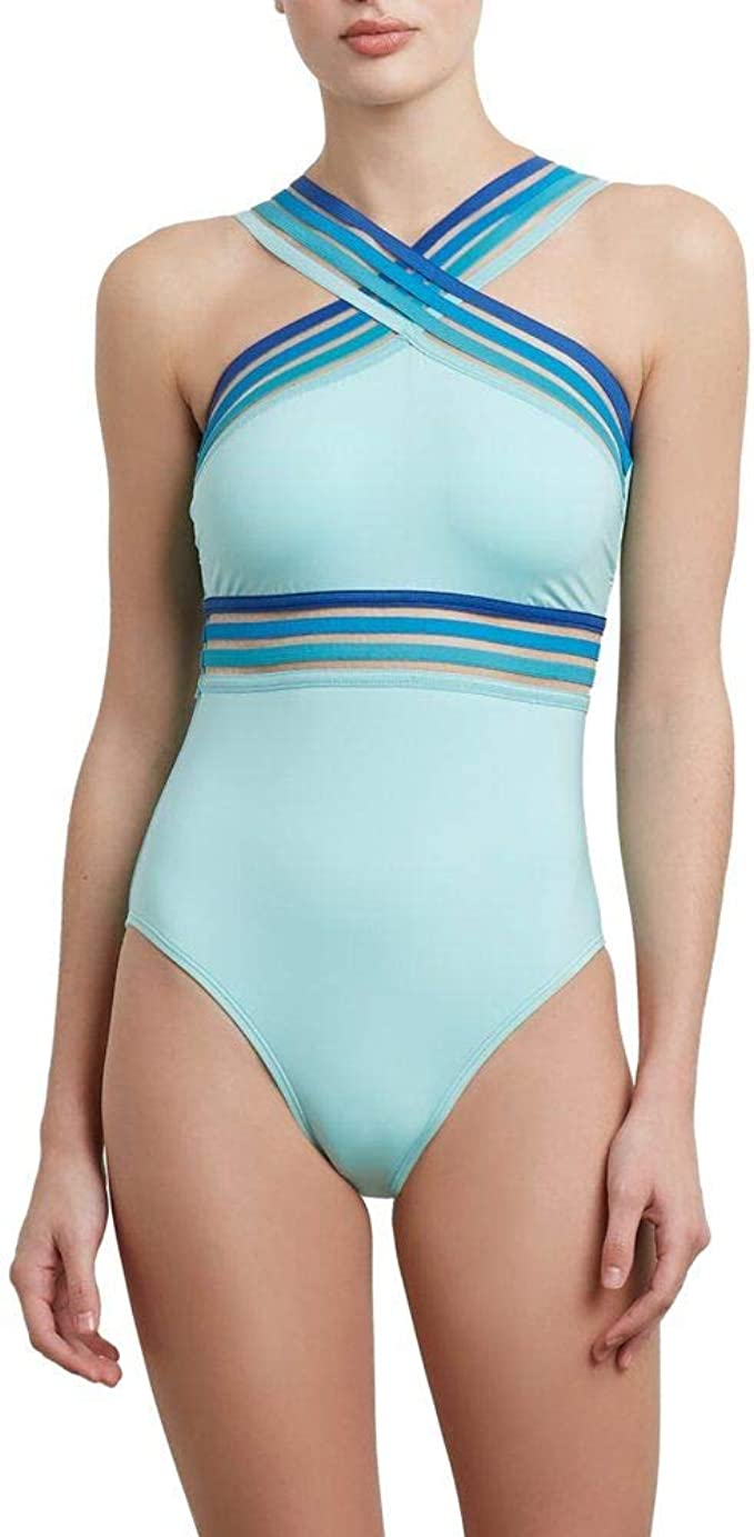 Kenneth Cole Women's Ombre in Stilettos One Piece High Neck Swimsuit Aqua M